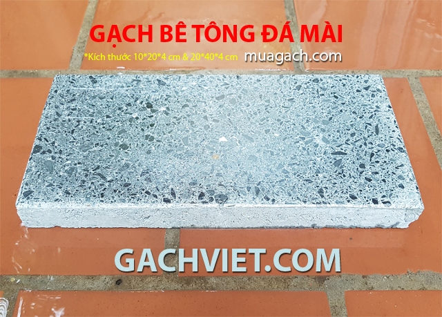 Gạch bê tông đá mài kích thước 20x40x4 cm , 10x20x4 cm độ dầy 4 phân. Gạch xi măng cement lót sân ngoài trời